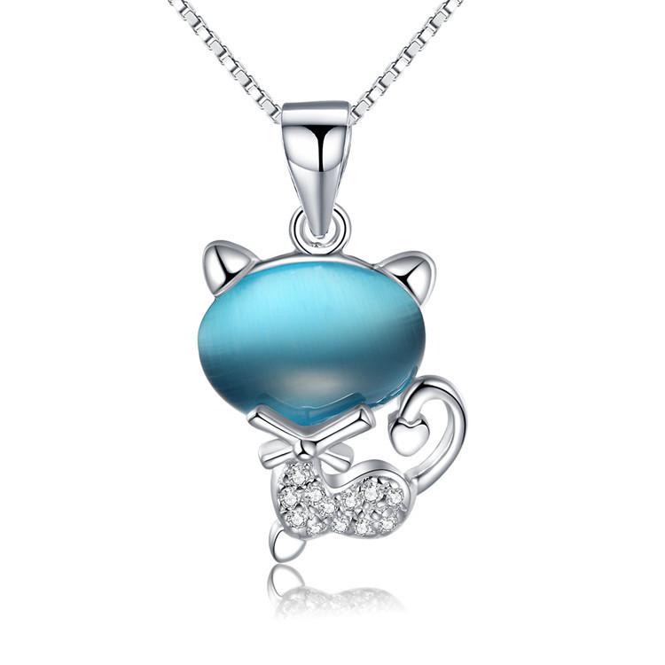 4 colors Natural semi-precious stones blue opals 925 Silver Chain Fine Jewelry Fashion Pink Cute Cat Pendant Necklace Women 2016(China (Mainland))