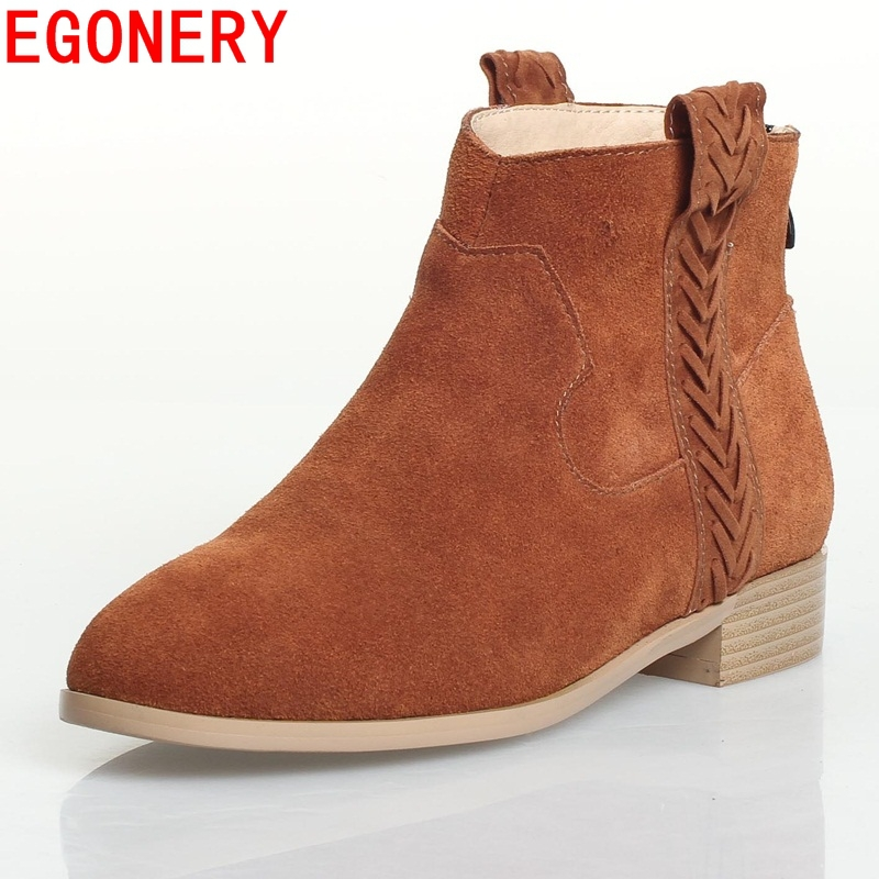 2015 new arrival high quality genuine leather knight boots sexy fashion medium heels short plush warm ankle boots woman shoes<br><br>Aliexpress