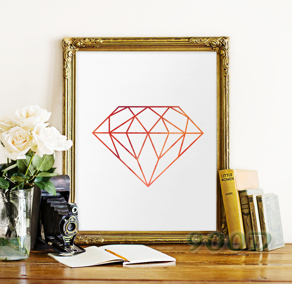 Watercolor Diamond Canvas Art Print Poster Wall Pictures For Home Decoration Wall Decor Fa281