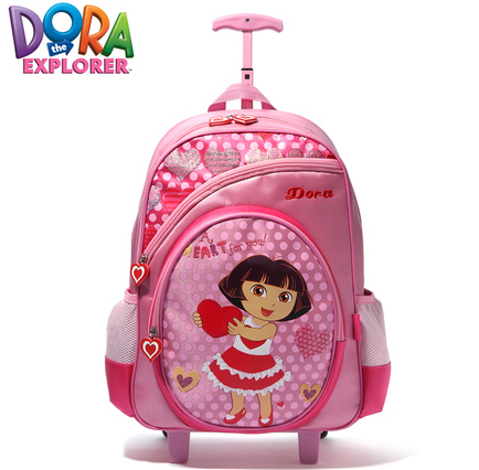 Promotion! Child School Bags primary school student pink girls bag travel luggage Dora The Explorer child trolley luggage(China (Mainland))