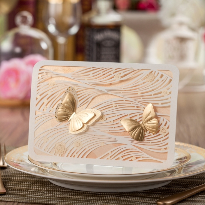 light Yellow wedding cards with gold butterfly laser cut invitation cards cw5092(China (Mainland))