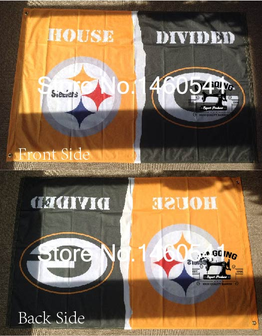 Pittsburgh Steelers Green Bay Packers House Divided Flag 3ft x 5ft Polyester NCAA Banner Size No.4 144* 96cm QingQing Flag(China (Mainland))