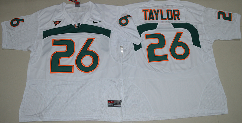 High Quality Nike Miami Hurricanes Sean Taylor 26 College Basketball Jersey - White Size S,M,L,XL(China (Mainland))