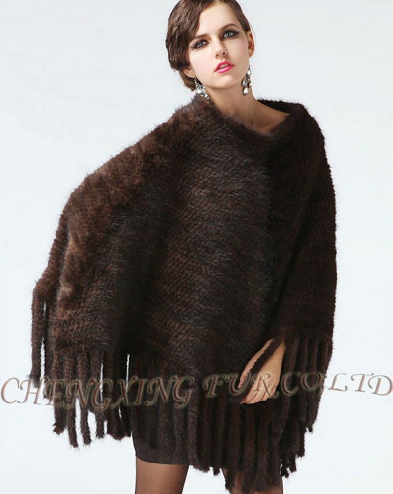 Genuine Large Knit Mink Pullover Fur Shawl  ~ Brown / Black  ~ FREE SHIPPING VIA DHL / EMSÎäåæäà è àêñåññóàðû<br><br>