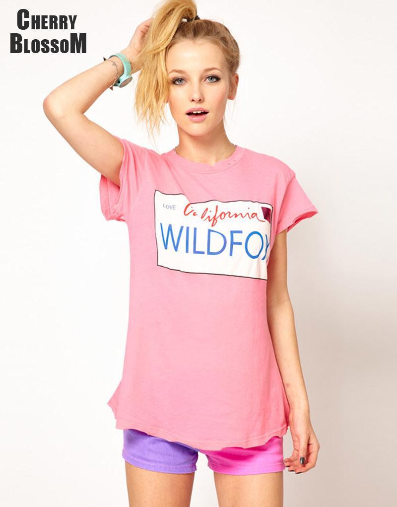 Women T Shirt Plus Size Tops for Women Short Sleeve Tees Wildfox California Letter Print Casual T Shirt Women Clothing(China (Mainland))