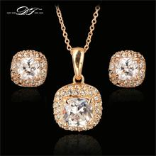 Top Quality CZ Diamond 18K Rose Gold Plated Necklaces&Pendants and Earrings Jewelry Sets For Women Gifts Austrian Crystal DFS008(China (Mainland))