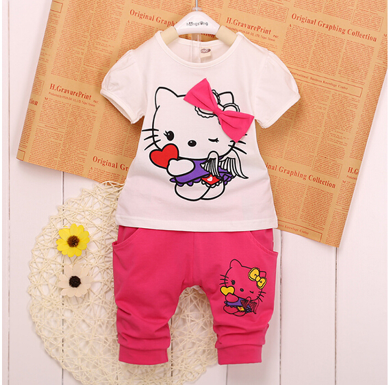 Baby Boy girls Cartoon clothing 2016 Summer Girls Kids hello kitty Clothes Tops+Dress tutu Pants Outfit Suit & kids clothes 000(China (Mainland))