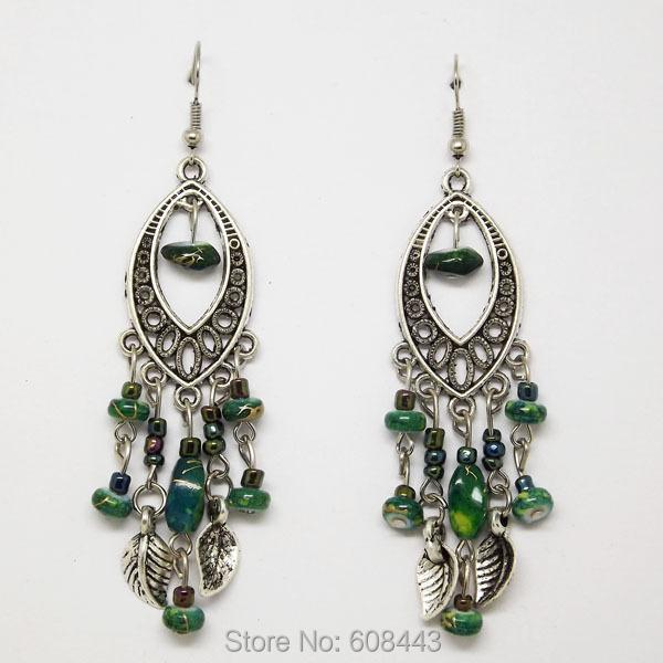 ER382 Tibetan Silver Bohemian Green Beads Retro Vintage Earrings For Teens Girls 2015 New Jewelry Bijouterie(China (Mainland))