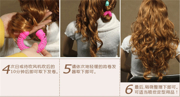 6 Pcs/bag Multi-Color Random Plastic Hair Rollers Hair's Curling Flexi Rods Free Shipping GQV(China (Mainland))