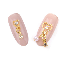 10pcs Gold pendant finding jewelry for nails heart pearl chain 3d nail nail charm new YH149(China (Mainland))