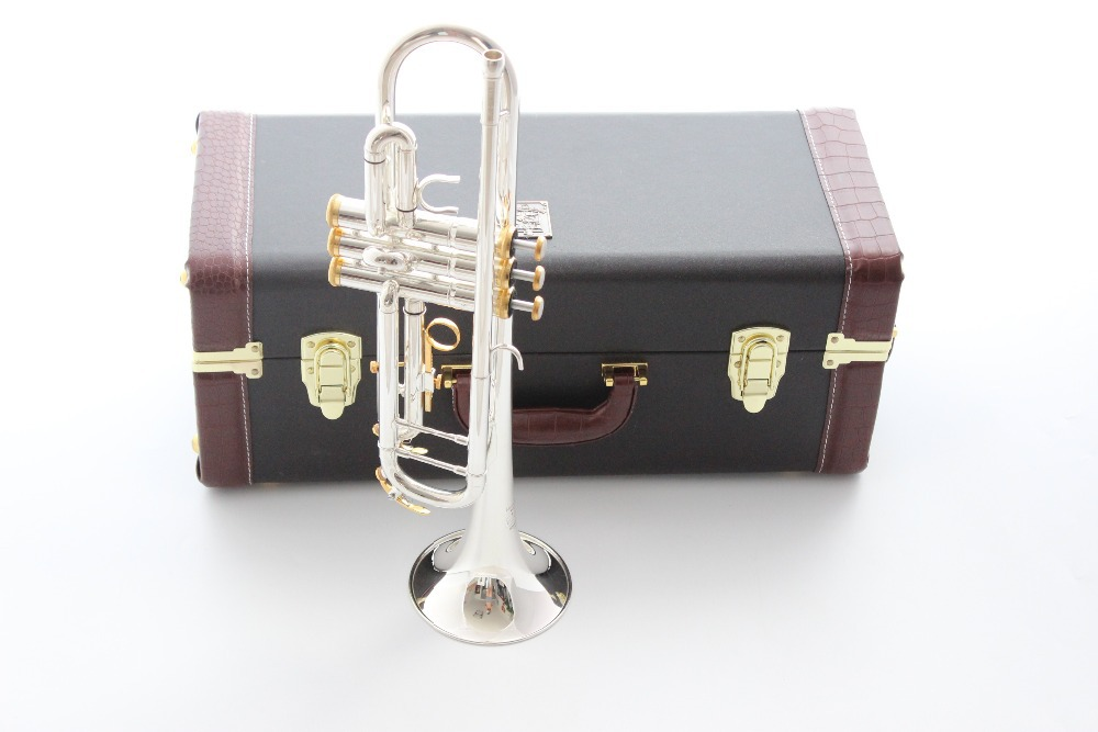 Taiwan Bach Double silver-plated Gold key LT180S37GS Bb trumpet HARD LEATHER case Top musical instruments Brass bugle(China (Mainland))
