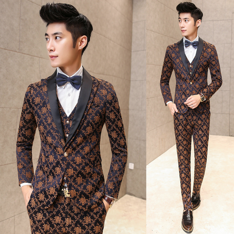Wedding Suits For Men 2015 New Luxury Jaquard Mens Suit with Pant And Vest Business Party Prom Men Slim Fit Suits Yellow 3pcsОдежда и ак�е��уары<br><br><br>Aliexpress