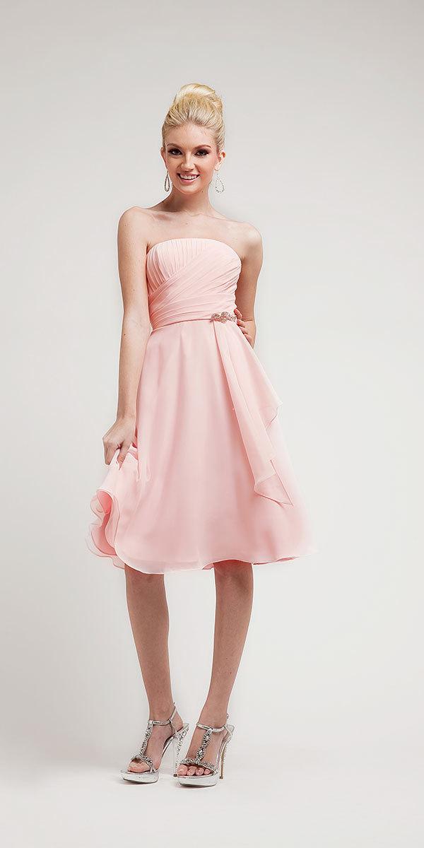 2015 Free Shipping New Knee Length Sweet Silk Chiffon Women Party Dress Bridesmaid Prom Gown Custom Size(China (Mainland))