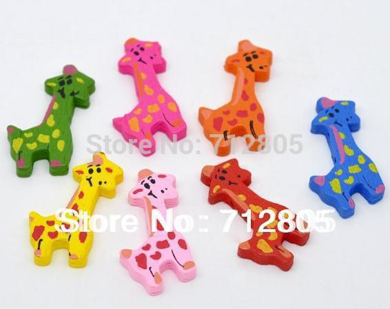 10 Mixed Colors Cute Giraffe Wood Beads 36x18mm Fashion Wooden Jewelry Findings - Rose's &Retail Store store