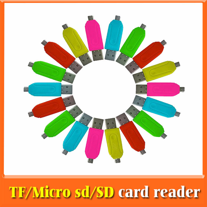All In One Smart Card Reader Writer Cards,Micro SD/T-Flash/SD Memory computer Card Reader,Micro USB OTG CardReader Free Shipping(China (Mainland))