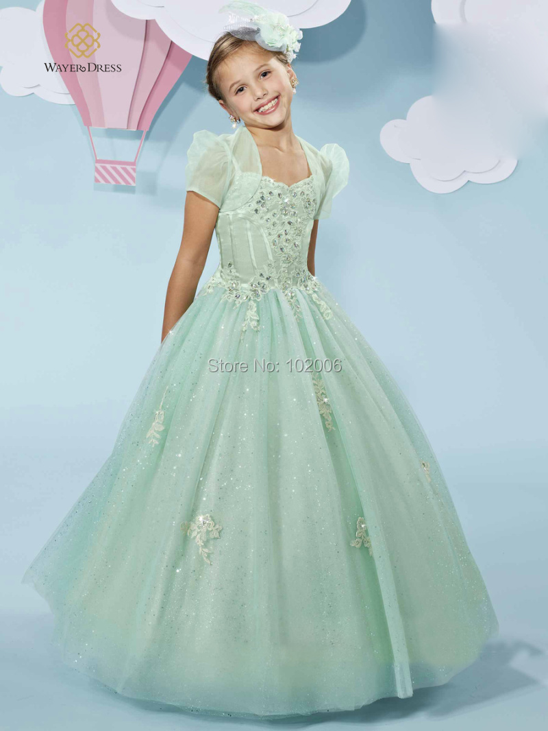 Wedding Mint Flower Girl Dresses online get cheap white and mint flower girl dress aliexpress com 2015 greenwhite dresses lovely girls pageant first communion for little ball gown