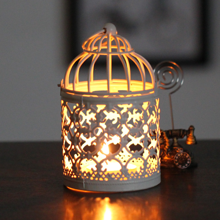 Candle holders mini decorative metal bird cage vintage white color home weddings decoration wrought iron candlesticks lantern(China (Mainland))