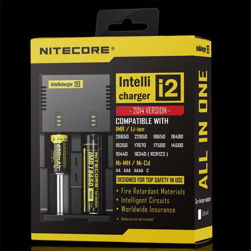 2014 Nitecore i2 2pcs/lot CR123A /AA /AAA/18650/26650/Li-ion/NiMH Universal Battery Charger Free shipping(China (Mainland))