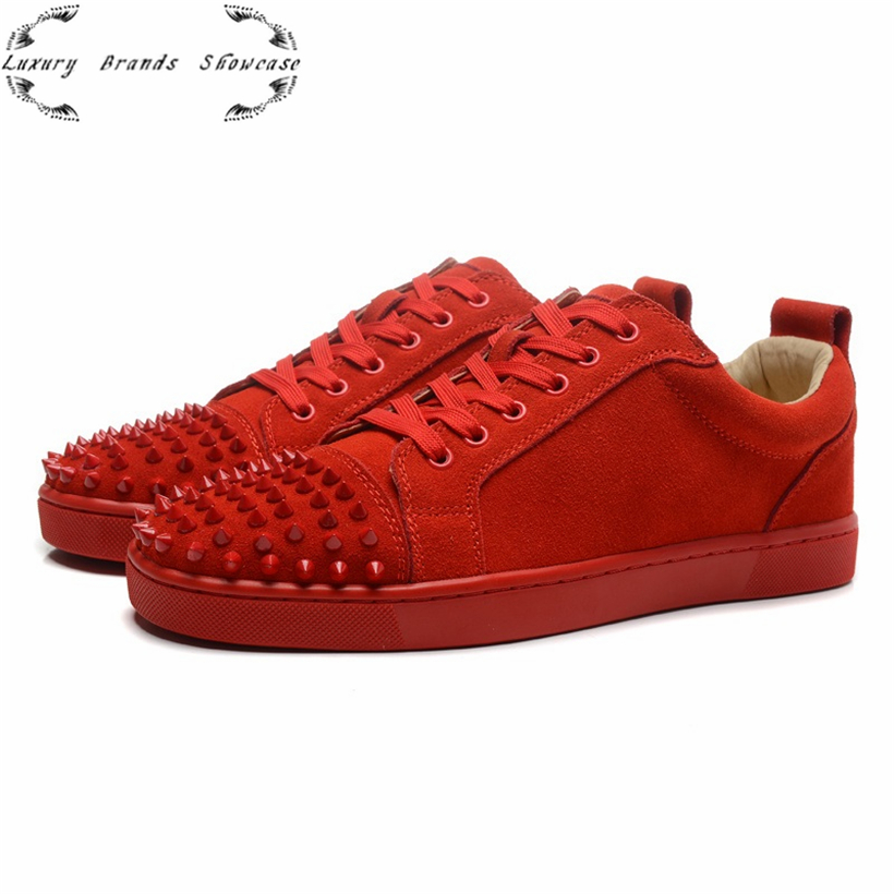 2016 spring new low top fashion shoes men women red bottom suede casual plain color spiked leisure trainers