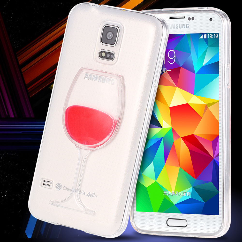 S5 Chic Flowing Liquid Wine Case for Samsung Galaxy S5 i9600 By Soft Silicon TPU Gel Phone Cup Cover Shell Capas Para Coque(China (Mainland))