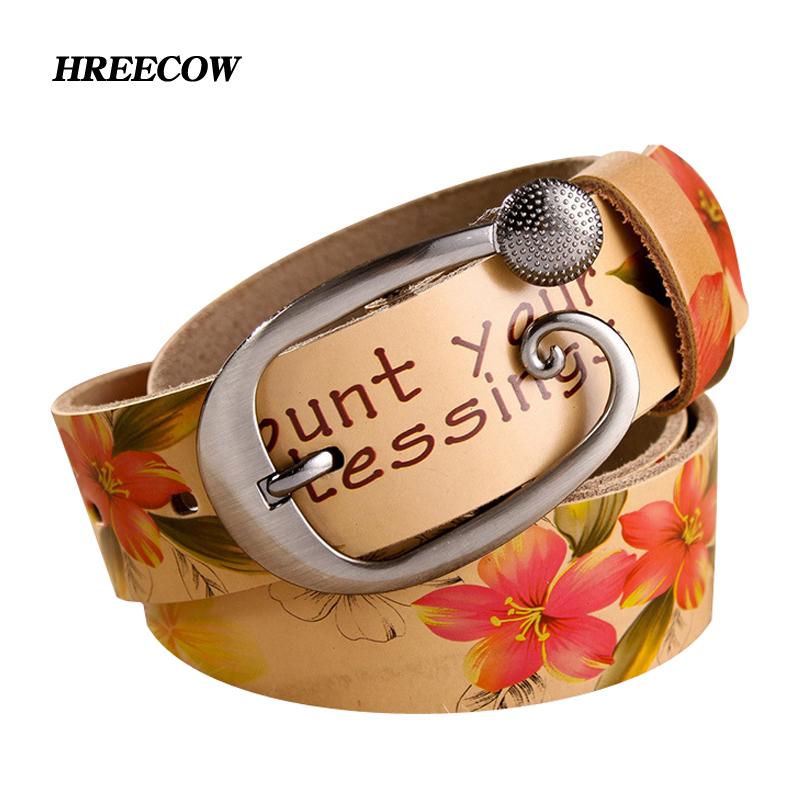 Fashion Genuine leather belt woman Cow skin belts women Top strap female Flower pattern Dress accessories