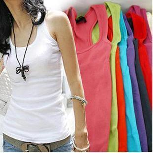 wholesale Summer hot-selling woven cotton rib knitting women's tank top long design Wholesale 6 Pcs/Lot 22 Color Can Choose
