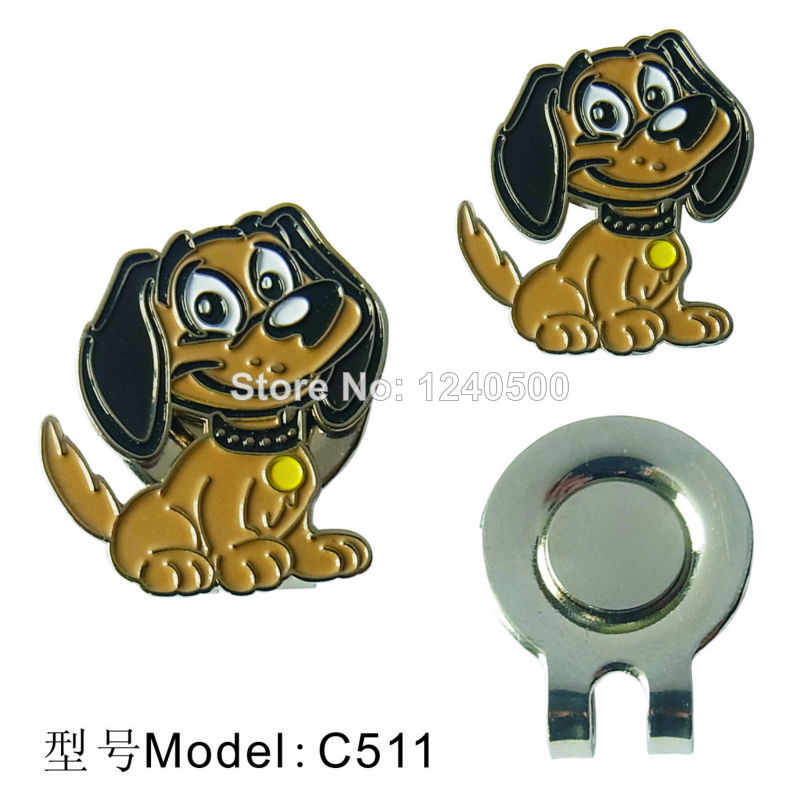 Free Shipping Brand New Cute puppy Golf Ball Marker with Magnetic Hat Clip, 2pcs/lot , Golf Acessories, Wholesale Price(China (Mainland))