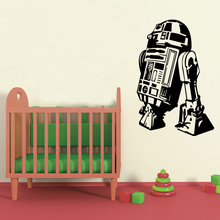 W007 Star Wars robot R2 D2 Wall Decals Vinyl house Decor Removable Mural famous movie sticker for Kids(China (Mainland))