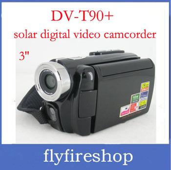 DV-T90+ Dual Solar 3'' lcd screen digital video camera camcorder 12 mega pixels multi-language solar mini camera free shipping