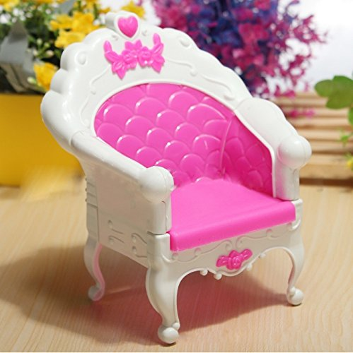 1 Pc Plastic Beautiful Pink Single Chair Set For Dolls Bedroom Furniture Great Children Gift(China (Mainland))