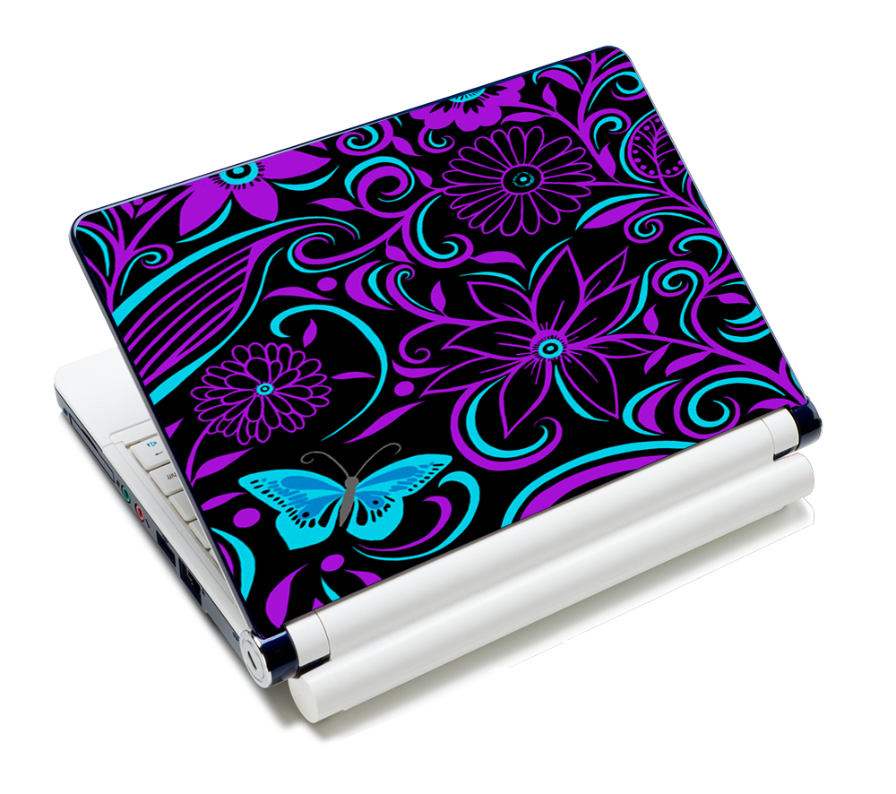 "Purple Flower Prints Universal Laptop Skins Sticker Cover Decal Protectors 12.1"" 13.3"" 14"" 14.4"" 15"" 15.4"" 15.6"" Inch Laptop"