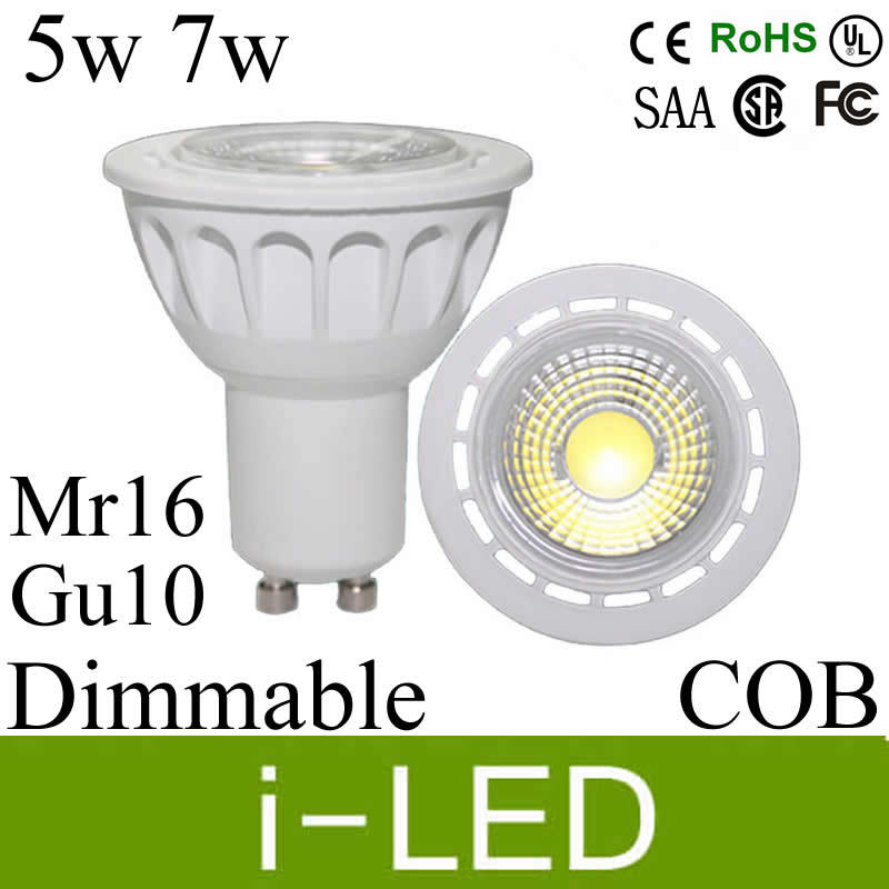 30%off CREE cob chip 5w 7w led spotlight gu10 dimmable led spot light lamp mr16 110-240v 12v 60 angle warm cold white UL CE CSA(China (Mainland))