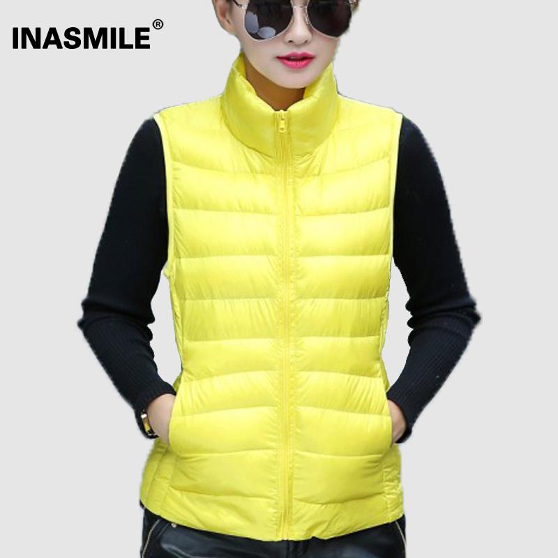 Сплошной цвет зима пальто жилет женщины приталенный верхняя одежда вниз куртка пальто сплошной цвет вниз парка зима куртка женщины жилет