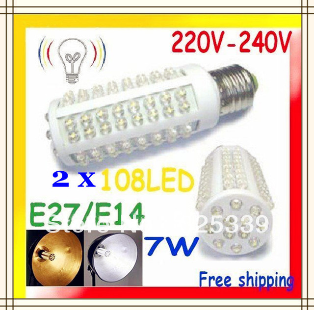 Free shipping 2pcs Ultra bright LED bulb 7W E27 E14 220-240V Warm/Cold white light LED corn with 108 led 360 degree Spot light