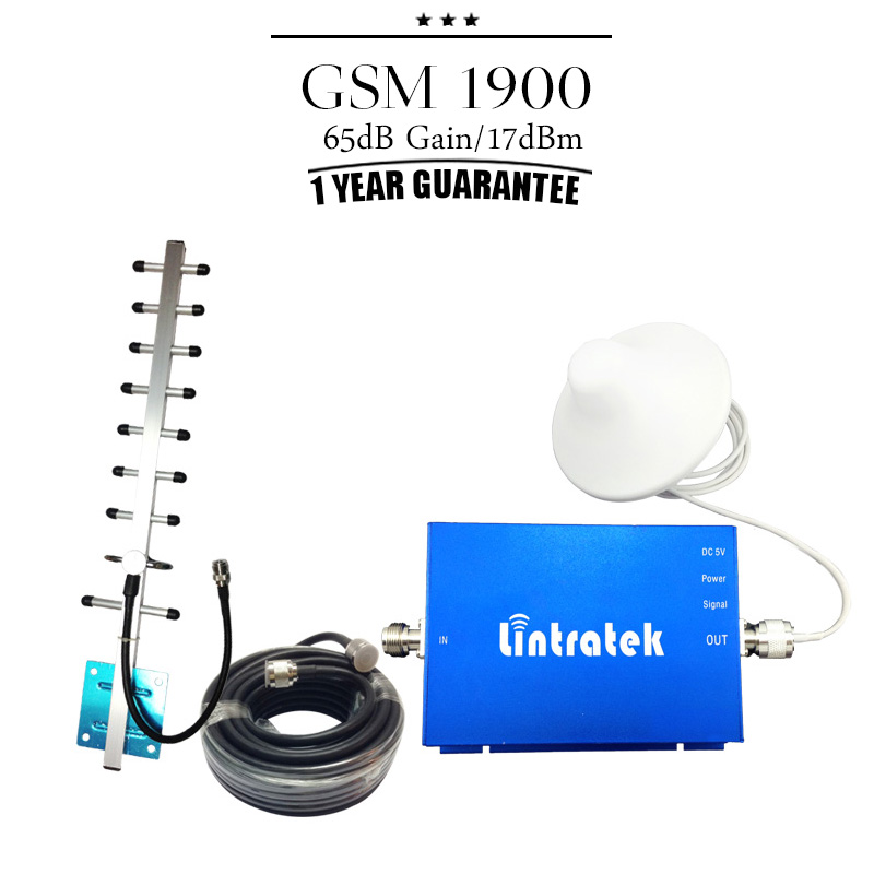One Set GSM 1900mhz Mobile Phone Signal Booster 17dBm 65dB Gain PCS 1900 Cellphone Cellular Repeater Amplifier Amplificador(China (Mainland))
