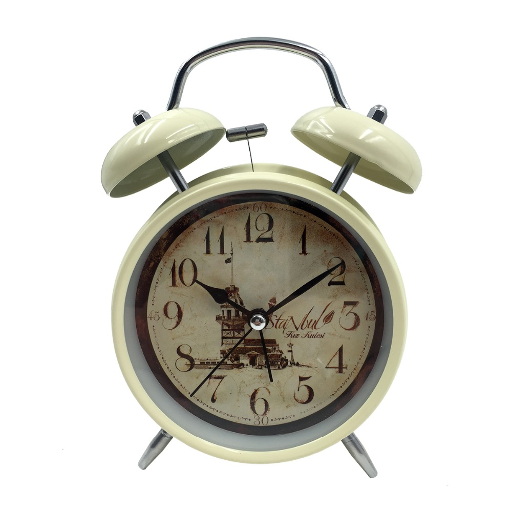 Fashion Desktop Clock Small Double Bell Night Light Kids