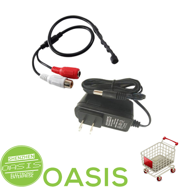 MIC AUDIO MICROPHONE SECURITY CCTV CAMERA with 1 Amp Power Adapter(China (Mainland))