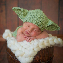 Star Wars Yoda Costume Outfit Crochet Baby Newborn Yoda Photography Props Cartoon Infant Hat with Diaper Cover H264(China (Mainland))