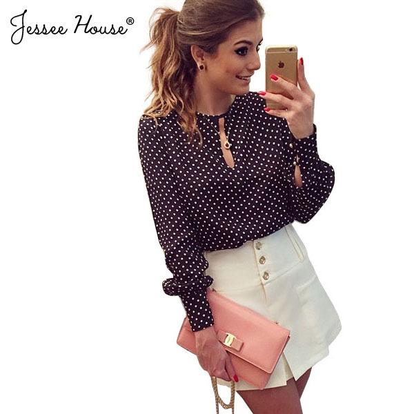 Большой размер Blusas Femininas Blusa ренда 2015 горошек урожай шифон дамы блузка топы с длинным рукавом женщины блузки 0530