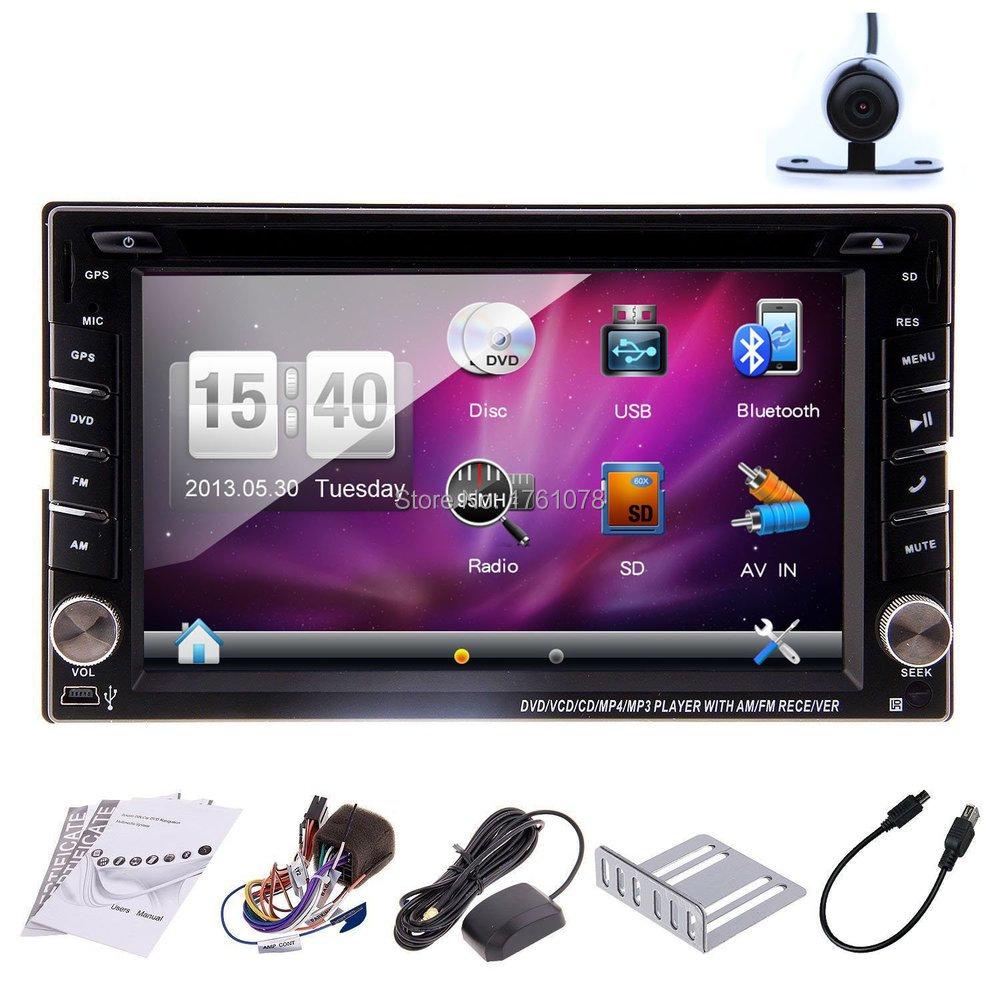 2015 New 6.2'' Double 2 DIN GPS Car Navigation DVD Player built-in Bluetooth Car Stereo Audio Radio+US Stock+Free Rear Camera(China (Mainland))