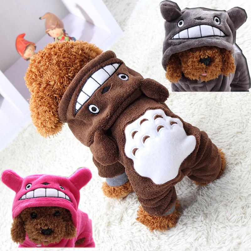 Pet Cat Dog Costume Soft Warm Dogs Clothes Cartoon Totoro Hoodie Coat Four Leg Jumpsuit Clothing