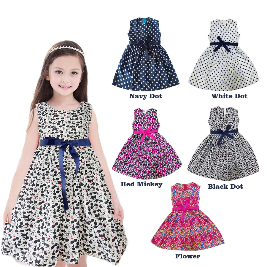 New Fashion Girls Dresses Dot Sundress minnie summer style clothing Casual Baby Children Clothes Size 3-12 mickey(China (Mainland))