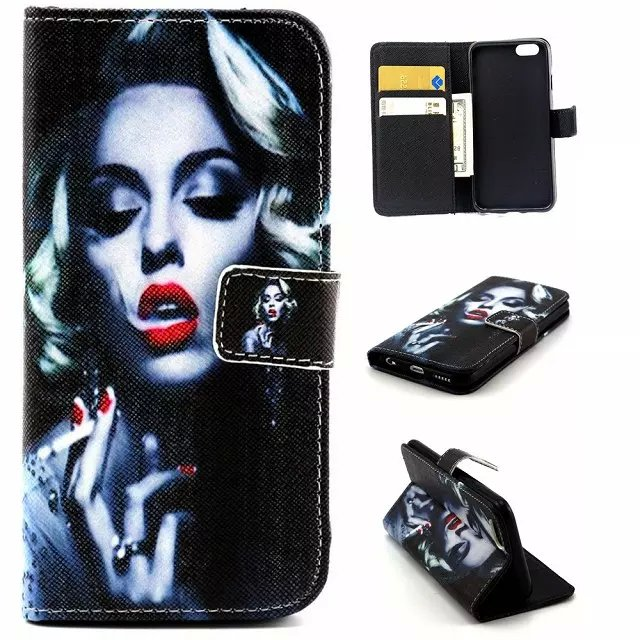 Marilyn Monroe Wallet PU Leather Phone case cover hood cell phone bag For iphone 4 4S 5 5S 6 6Plus(Hong Kong)