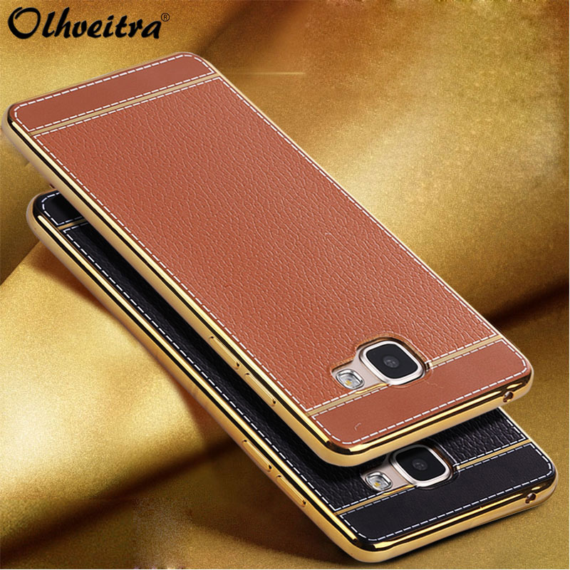 Luxury Fundas Samsung Galaxy A7 2017 Case Back Cover TPU soft Silicone Mobile Phone Cases Samsung A720 PU Leather cover