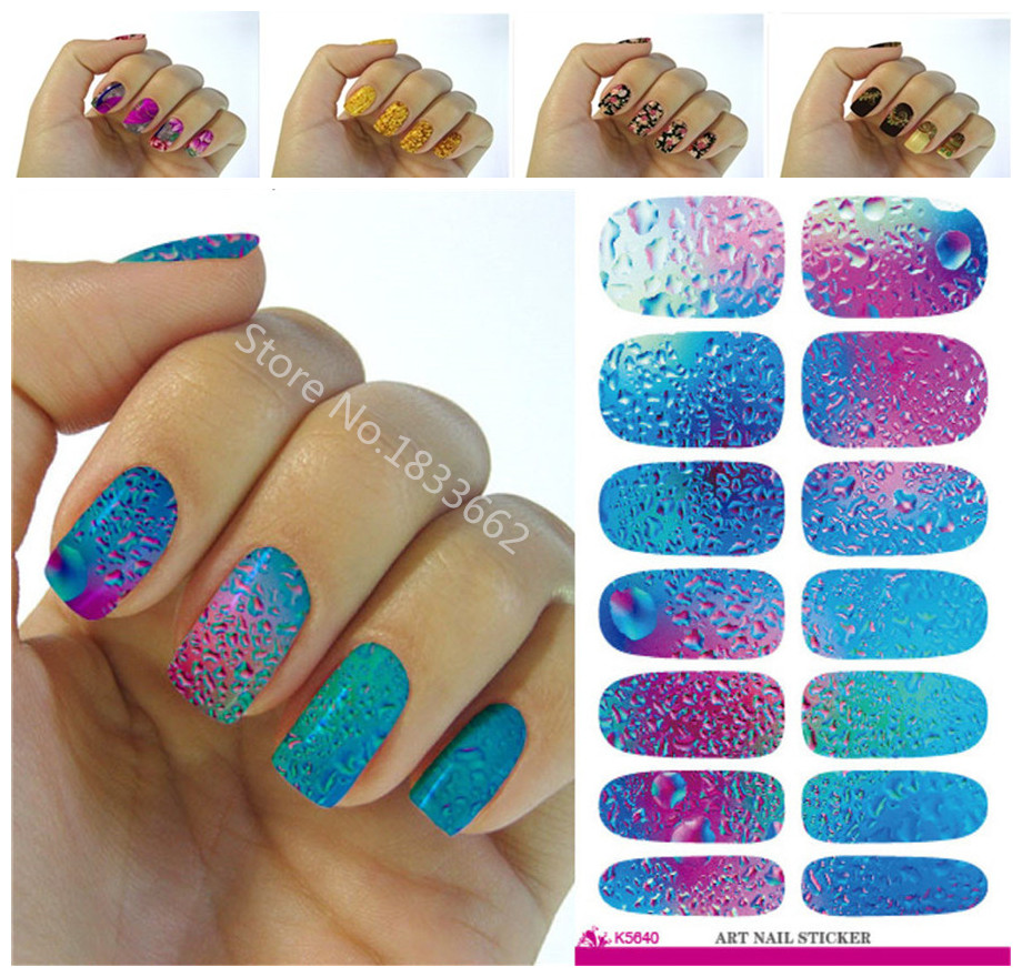 K640 New fashion water transfer foil nail stickers all kinds of nail art design patterns fashion decorative decal(China (Mainland))