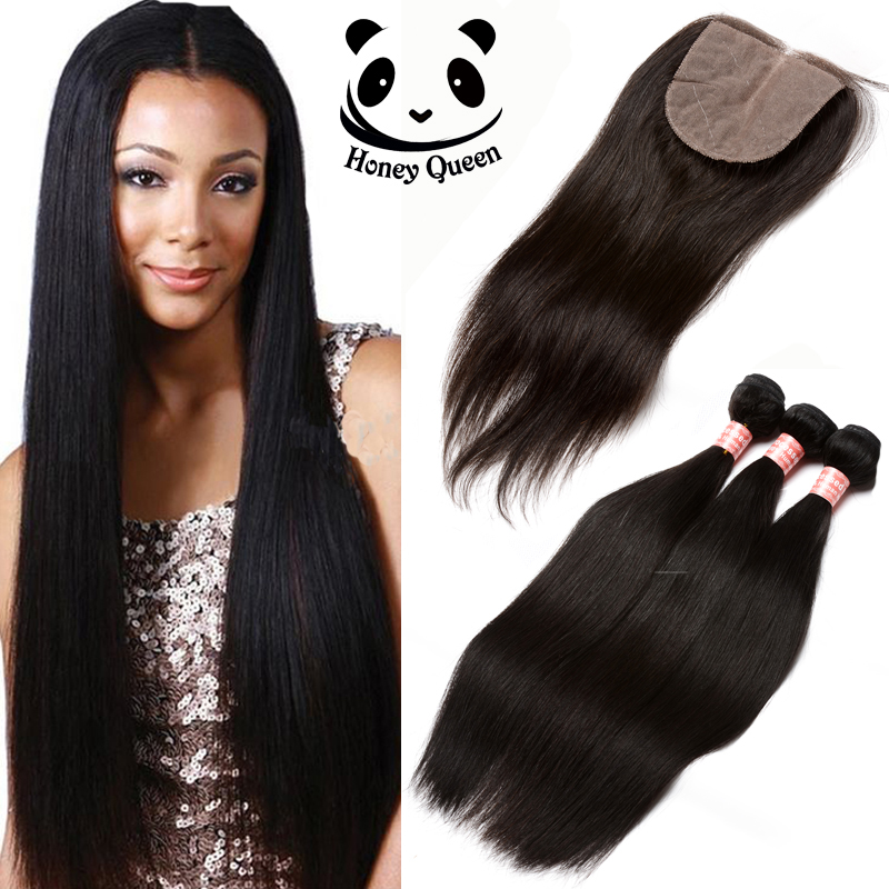 Silk Base Closure With Bundles 3pcs Peruvian Virgin Hair Straight With Closure 7A Human Hair Weft With Closure Honey Queen Hair<br><br>Aliexpress