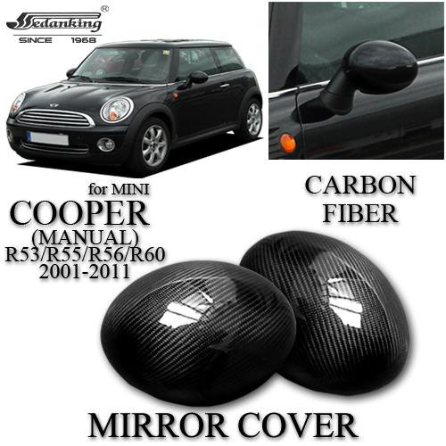 CAR DECORATIONS MIRROR COVER FOR MINI COOPER(MANUAL) R53 R55 R56 R60 2001-2011 CARBON FIBER