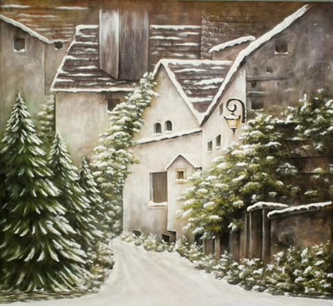 1.5 W x2.2 H m Cheap Backdrop Merry Christmas Pin Tree Snow House Photography Background Vinyl Top Quality Backdrop 5x7ft