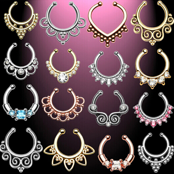 Top quality fake nose ring New Arrival Crystal Nose Ring Fake Septum Piercing Hanger Clip On Body Jewelry Nose Hoop 18 colour(China (Mainland))