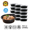Round Plastic Food Storage Container With Lid Bento Box Meal Preparation Container Microwave Dishwasher Safe 30